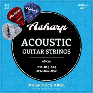 Asharp cordes en acier pour guitare folk – Jeu de cordes premium d'une sonorité exceptionnelle – Tirant leger pour guitare acoustique de la marque Asharp image 0 produit