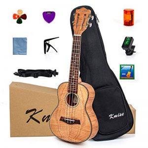 Kmise - Kit de ukulélé pour débutant - Ukulélé de 59cm à tête de guitare classique - Pour les amateurs de musique et les débutants 23 Solid Tiger Flame Okume de la marque Kmise image 0 produit