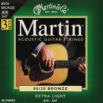 Martin Lot de 3 jeux de 6 cordes pour guitare acoustique 80/20 Bronze épaisseur .010-.047 de la marque Martin image 2 produit