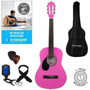 'Stretton Payne' Guitare GAUCHERS Acoustique Classique 3/4 Pack - Rose - Avec Housse et Accordeur électronique et Mediator et Cours de guitare en ligne de la marque Stretton Payne image 0 produit