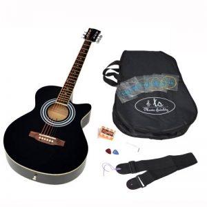 TS-ideen Guitare folk 4/4 acoustique avec étui rembourré, sangle, cordes de rechange et diapason à bouche (Noir) de la marque ts-ideen image 0 produit