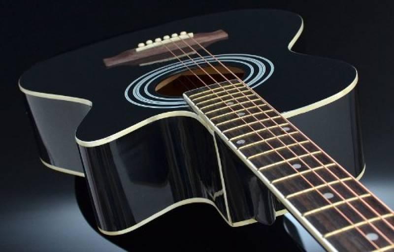 Noir TS-ideen Guitare folk 4//4 acoustique avec /étui rembourr/é cordes de rechange et diapason /à bouche sangle